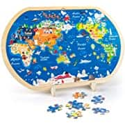 44-Piece Vatos Wooden Jigsaw Puzzle (World Map) $8 + Free Shipping w/ Prime or Orders $25+