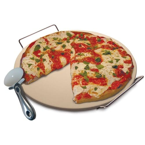 Pizza Baking Stone Set, 15-Inch - Includes Serving Rack, Pizza Cutter, Recipe Booklet $13.99