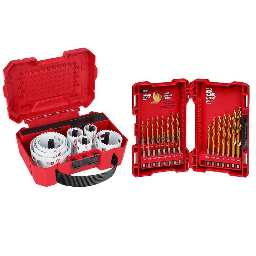 Hole Dozer General Purpose Bi-Metal Hole Saw Set and SHOCKWAVE IMPACT DUTY Titanium Drill Bit Set (36-Piece) - Home Depot $64.99