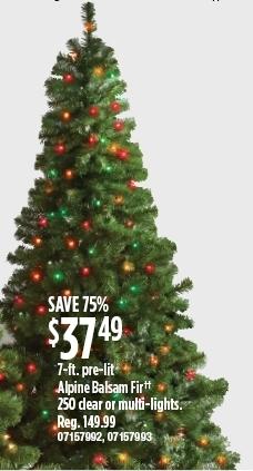 Sears Prelit Christmas Trees.Sears Black Friday 7 Ft Pre Lit Alpine Balsam Fir With 250