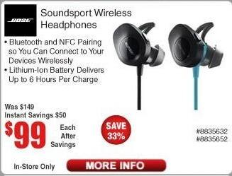 ec9515e9ca5 Frys Black Friday: Bose Soundsport Wireless Headphones for $99.00 · See Deal
