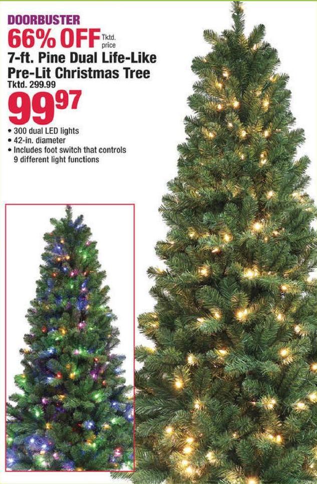 Boscov's Black Friday: 7-ft. Pine Dual Life-Like Pre-Lit Christmas Tree for $99.97