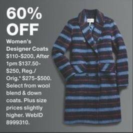 Macy's Black Friday: Women's Designer Coats - 60% off