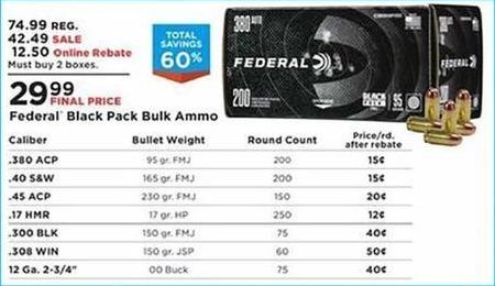 Mills Fleet Farm Promo Code >> Mills Fleet Farm Black Friday Federal Black Pack Bulk Ammo