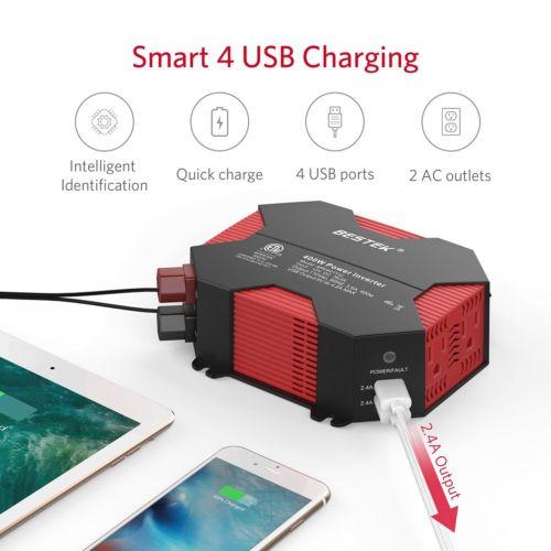 BESTEK 400W Watt Power Inverter DC 12V AC 110V Car Converter 4 USB ports Charger $34.27