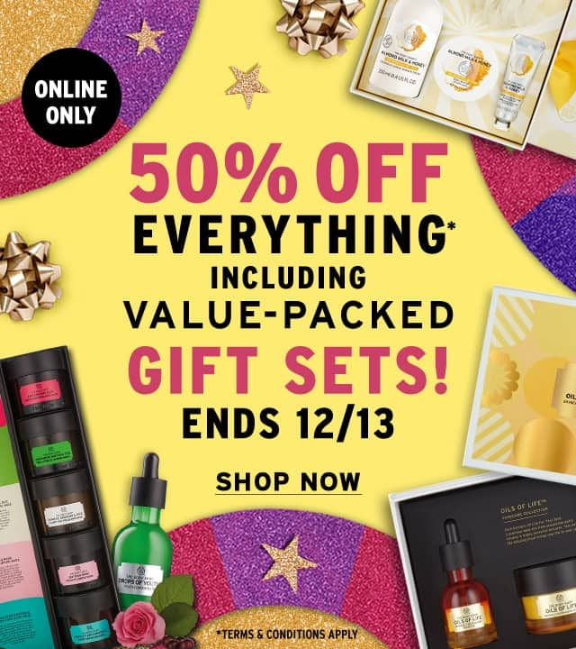 The Body Shop 50% everything on site plus free shipping