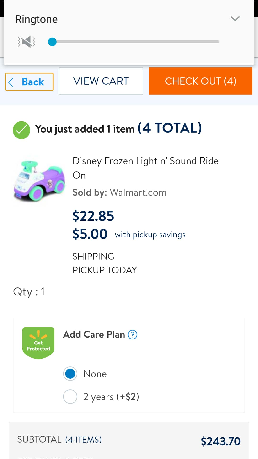 YMMV,  Disney Frozen Ride on,  5.00 at Walmart with store pick up price.
