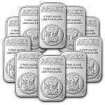 1 oz APMEX Silver Bar - Lot of 10 for 209.99 w/ FS