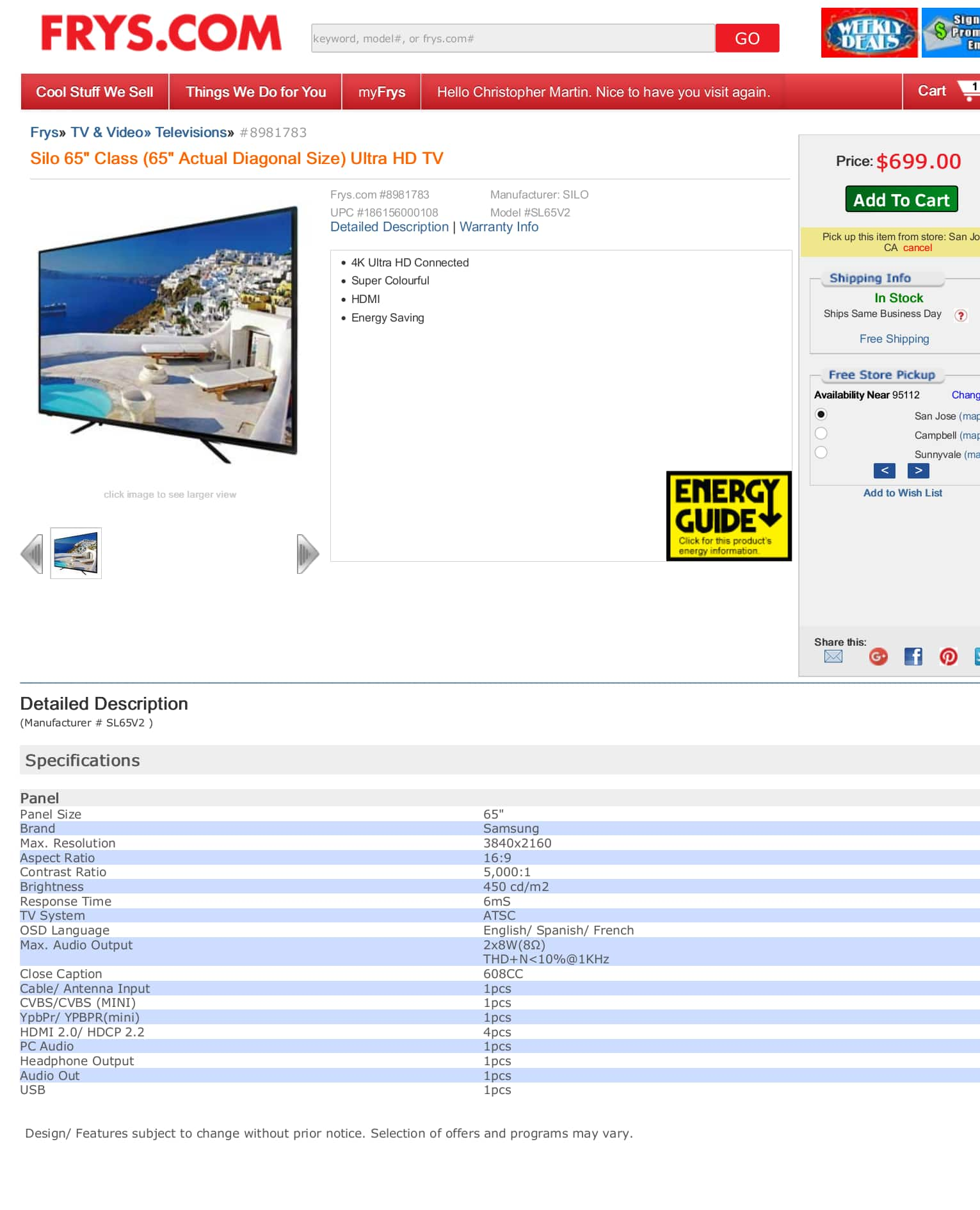 "Fry's Silo 65"" Class (65"" Actual Diagonal Size) 4K Ultra HD TV $549 with coupon and free freight shipping) (also free store pickup)"