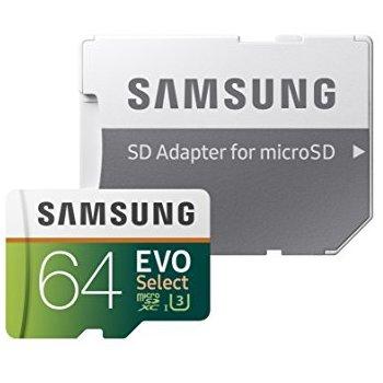 Samsung 64GB EVO Select MicroSDXC MB-ME64GA/AM Amazon $19.99