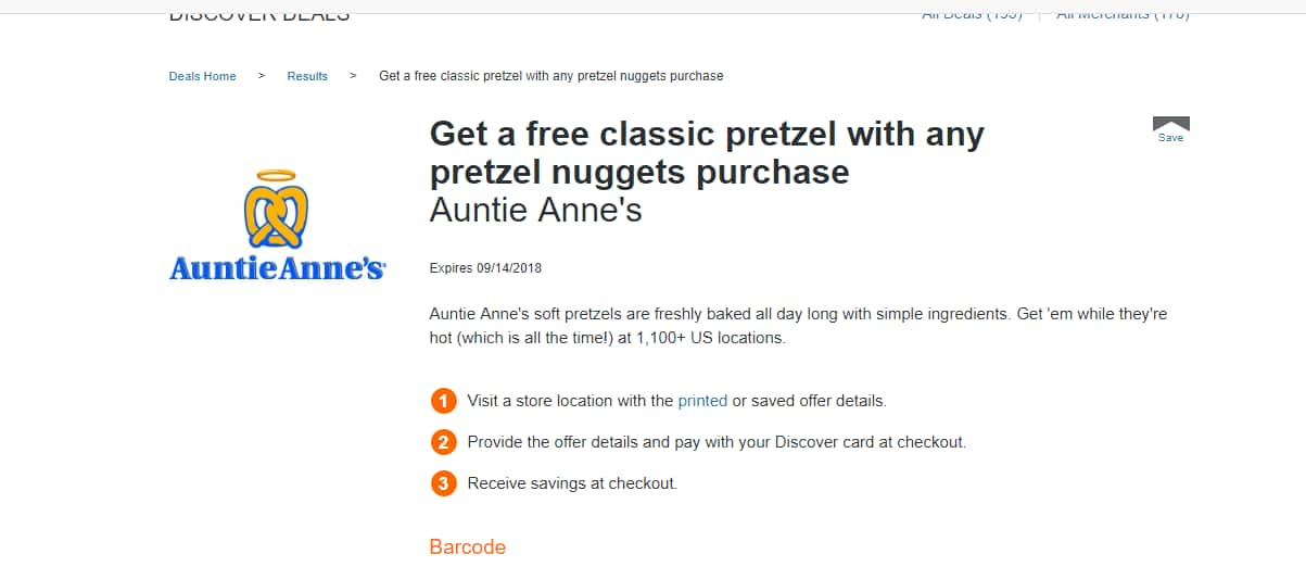 Get a free classic pretzel with any pretzel nuggets purchase $3.79 through Discover deals
