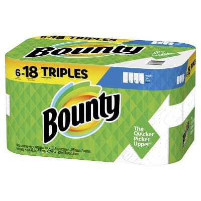 Bounty Paper Towels, Select-A-Size, White, 6 Triple Rolls =18 Regular Rolls, $9 after rebate and Target GC each if you order 4