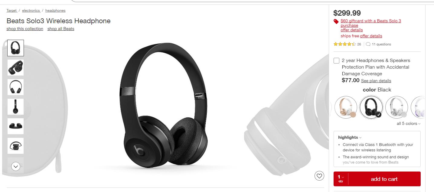 Beats Solo3 Wireless On-Ear Headphones $239.99