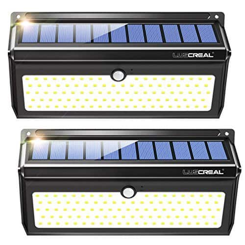 2 Packs 100 LED Solar Motion Sensor Security Wall Lights (2000LM) for $21.59 @Amazon + Free Shipping