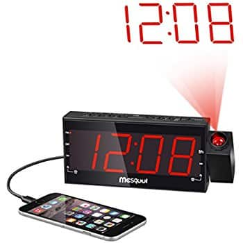 "Mesqool AM/FM Digital Dimmable Projection Alarm Clock Radio with 1.8"" LED Display for $15.74 + FS"