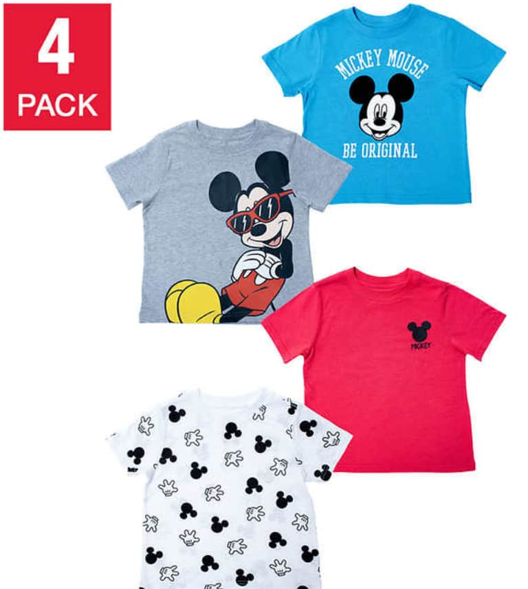 Costco: Disney 4-pack of Mickey, Minnie, Frozen and Marvel Tees in Sizes 3T-7 for $9.99. Free Shipping.