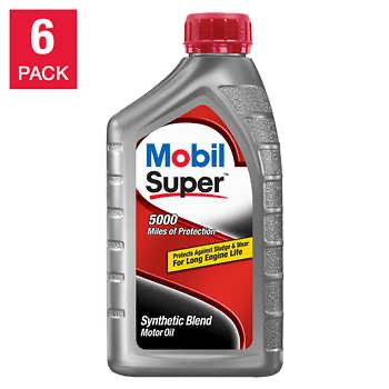 Mobil Super Synthetic Blend Motor Oil, 1-Quart/6-pack - $17