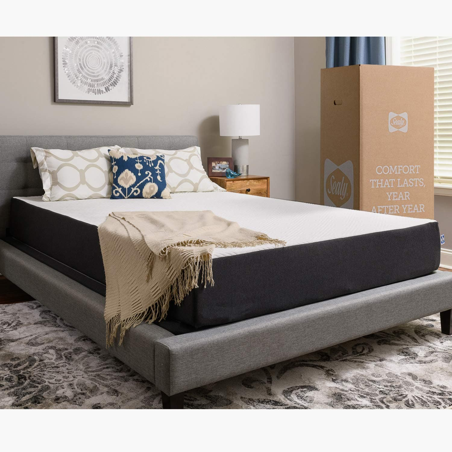 Sealy, 10-Inch, Memory Foam bed in a box, Adaptive Comfort Layers, Medium-Firm Feel Mattress, Queen -$298/King-309$