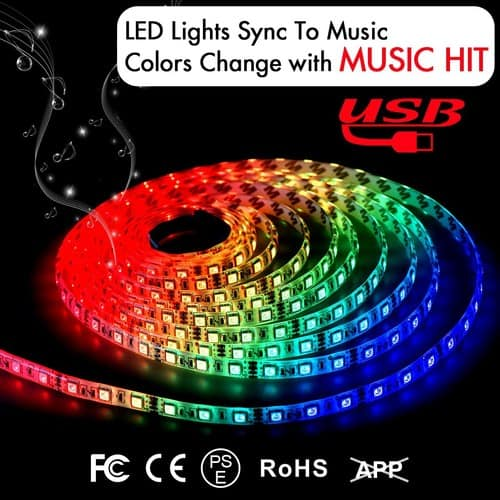 6.6FT/2M 5V USB Powered Waterproof Music LED String Lights Kit with IR Controller $9.45 @Amazon