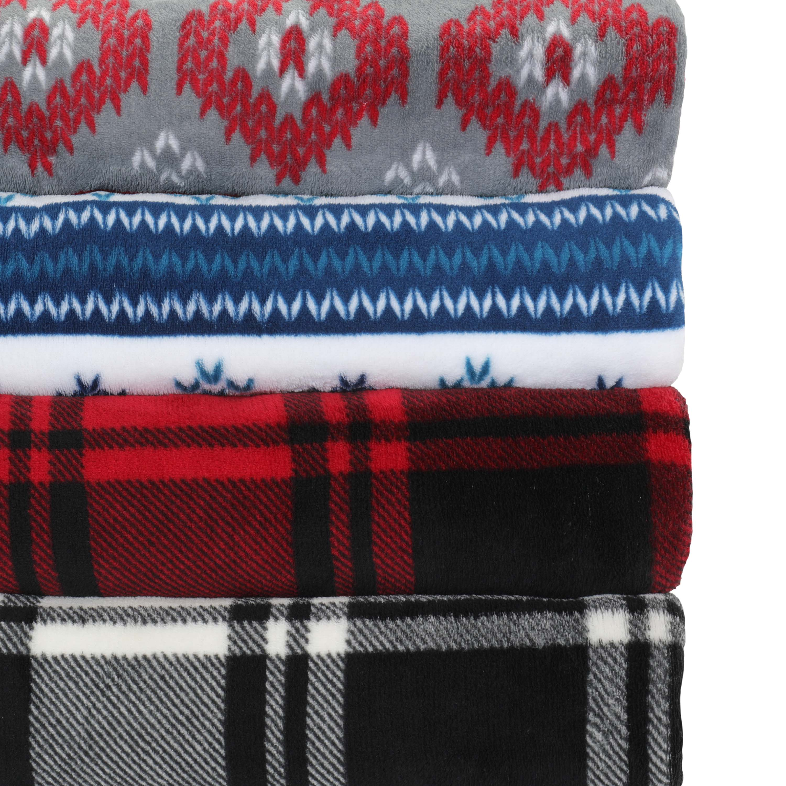 "Mainstays Giant Oversized Plush Throw Blanket, 60"" x 72"", Red Plaid $8.00 + ship"