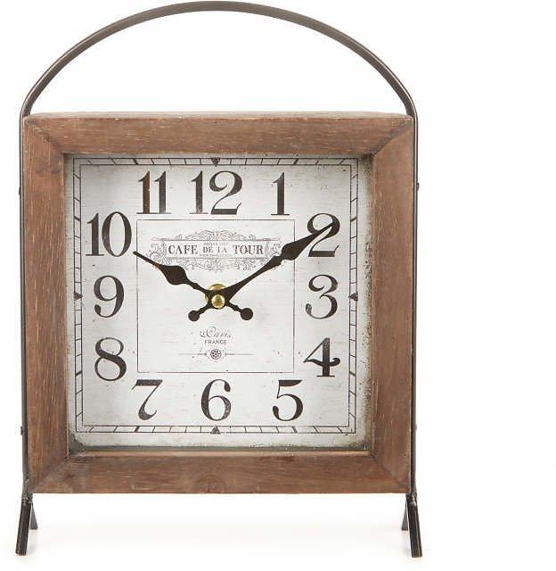 Vintage Wood & Metal Square Tabletop Clock $14