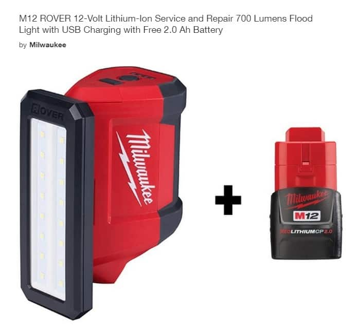 Home Depot: Milwaukee M12 ROVER 700 Lumens Flood Light with USB Charging + M12 2.0 Battery = $59