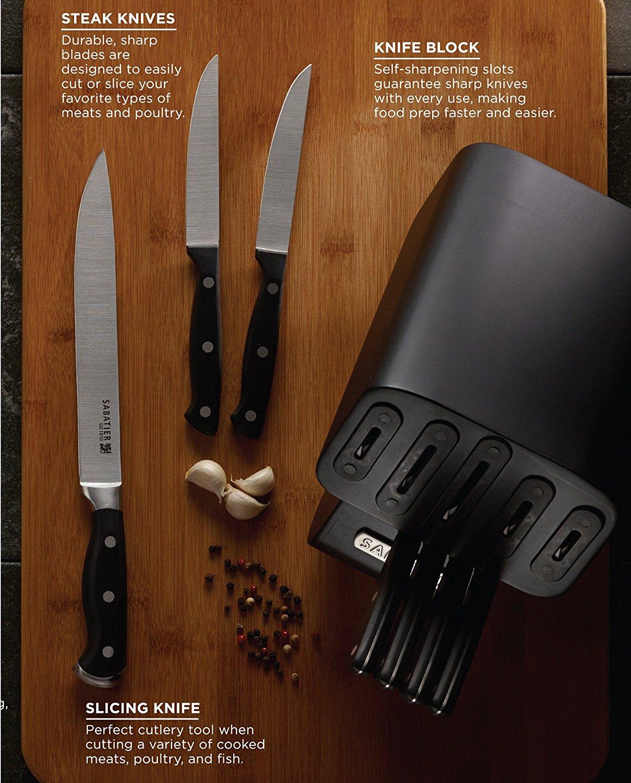 Sabatier Self-Sharpening Edgekeeper Pro 12-Piece Forged Triple Rivet Knife Block Set $79.99 @Amazon