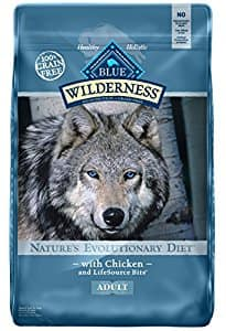 24 lb BLUE Wilderness High Protein Grain Free Adult Dry Dog Food $27.49  at Amazon with SS
