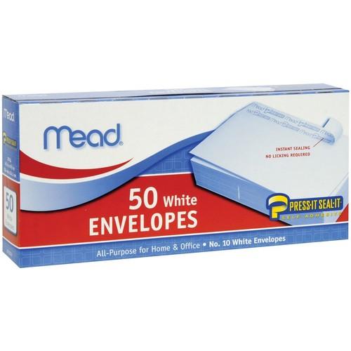 Mead #10 Envelopes, Press-It Seal-It, White, 50/Box (75024) $1.59