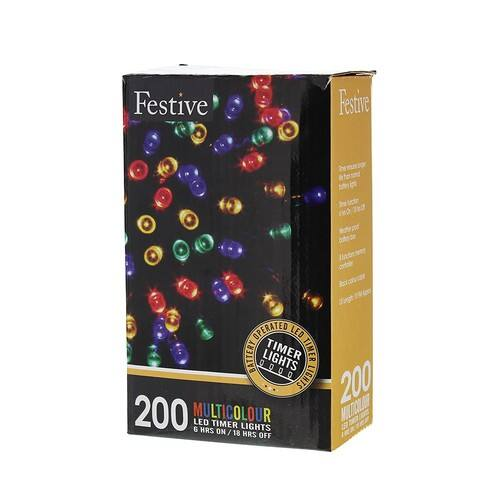 Festive Christmas String Lights, Battery Operated Timer LED, Multicolor, 200 bulbs, 65ft long $3.73