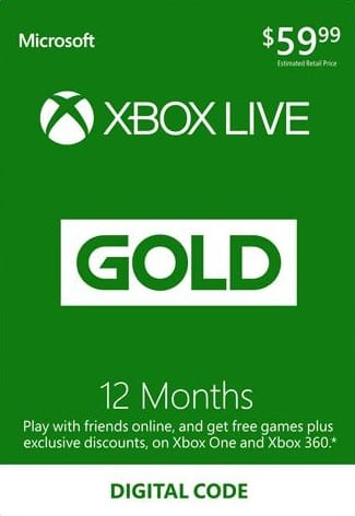 XBOX Live 12 Month Gold Membership Card Global (Digital Delivery) $41.53