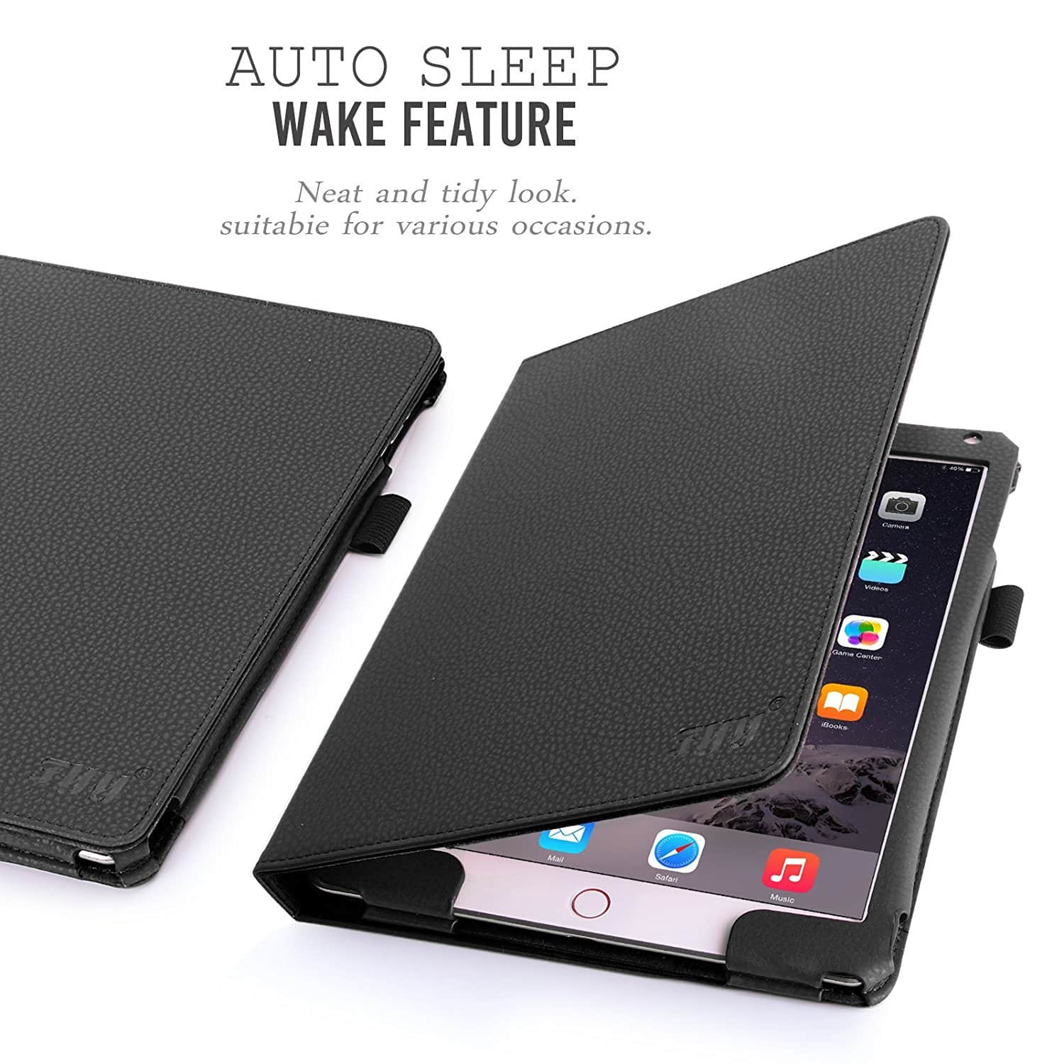 FYY iPad Air 2 PU Leather Case with Smart Auto Wake/Sleep Cover (Black) $6.86 @Amazon