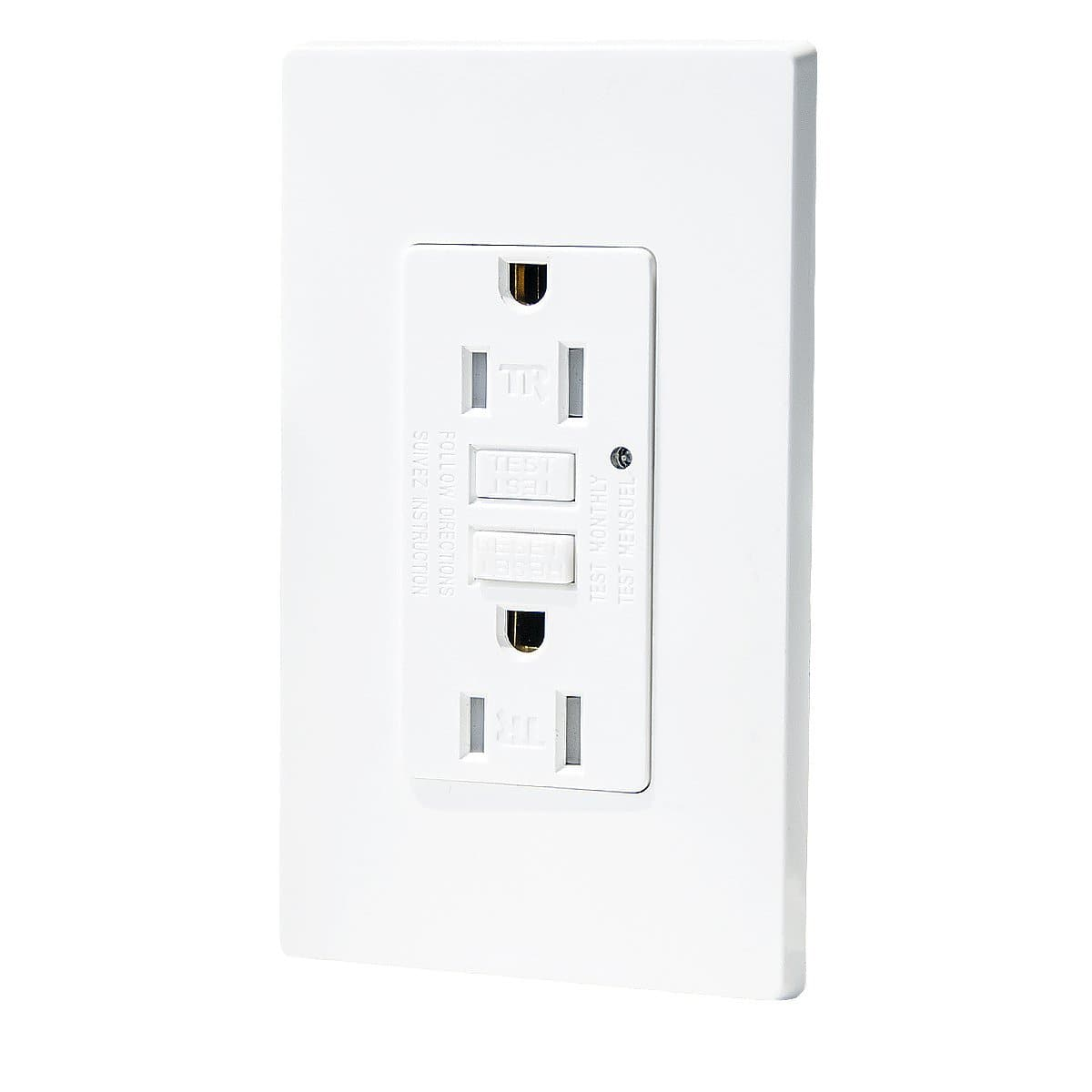 15 Amp GFCI Outlet, 125 Volt, Tamper-Resistant, Indicator with LED Light, Two Wall Plates Included, White - $7.19