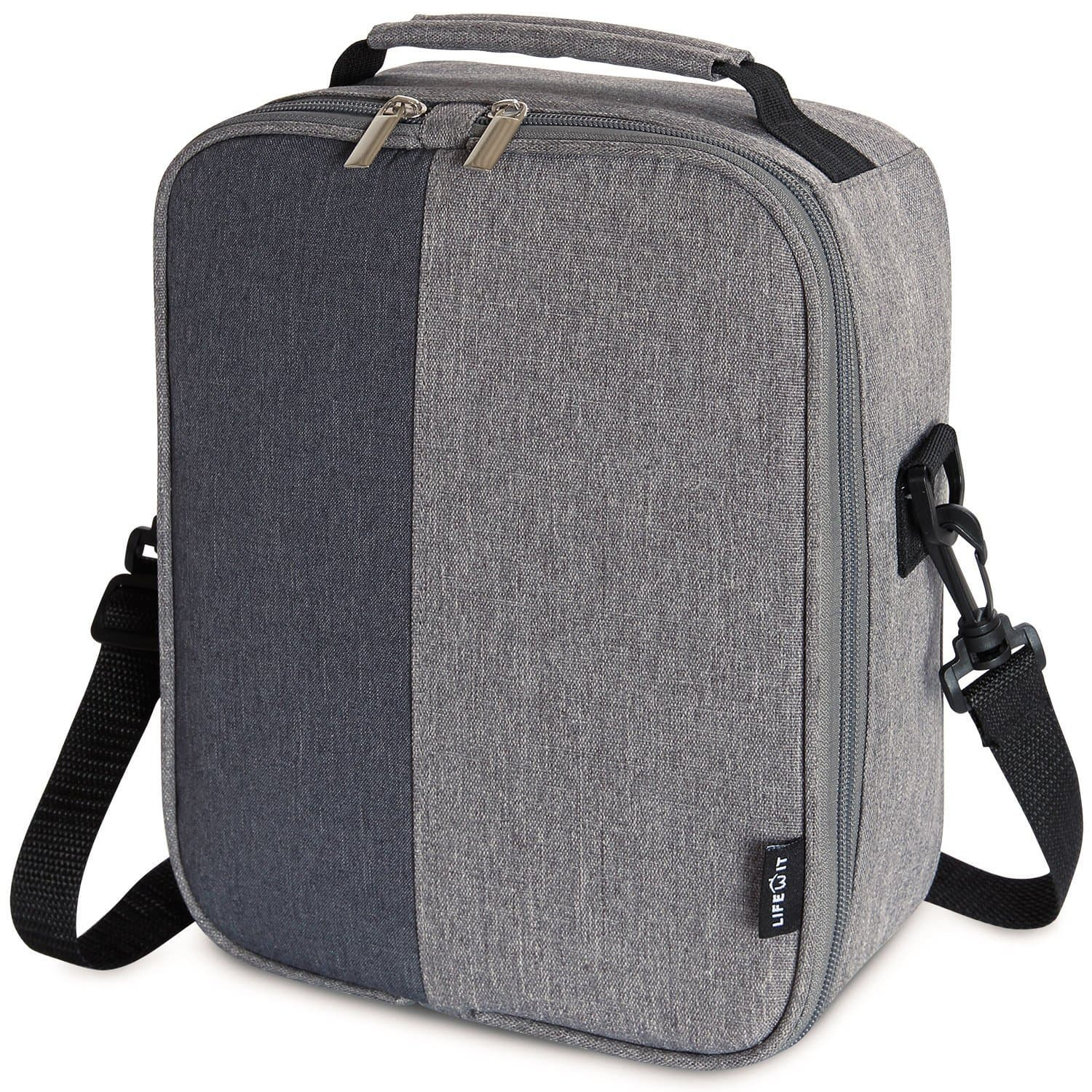 Insulated Lunch Bag with Adjustable Divider - Grey [2 Pocket] - $9.89