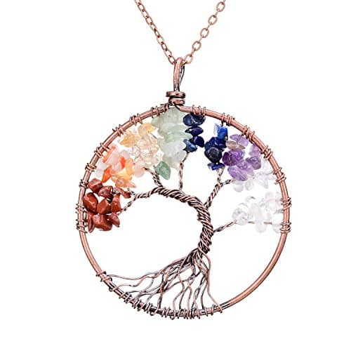 sedmart Tree of life pendant Amethyst Rose Crystal Necklace ( A: Chakra ) - $7.49 @ Amazon