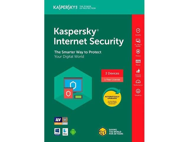 Kaspersky Internet Security 3 Devices 2018 - Download  W/ Code:EMCBBCC53 $9.99