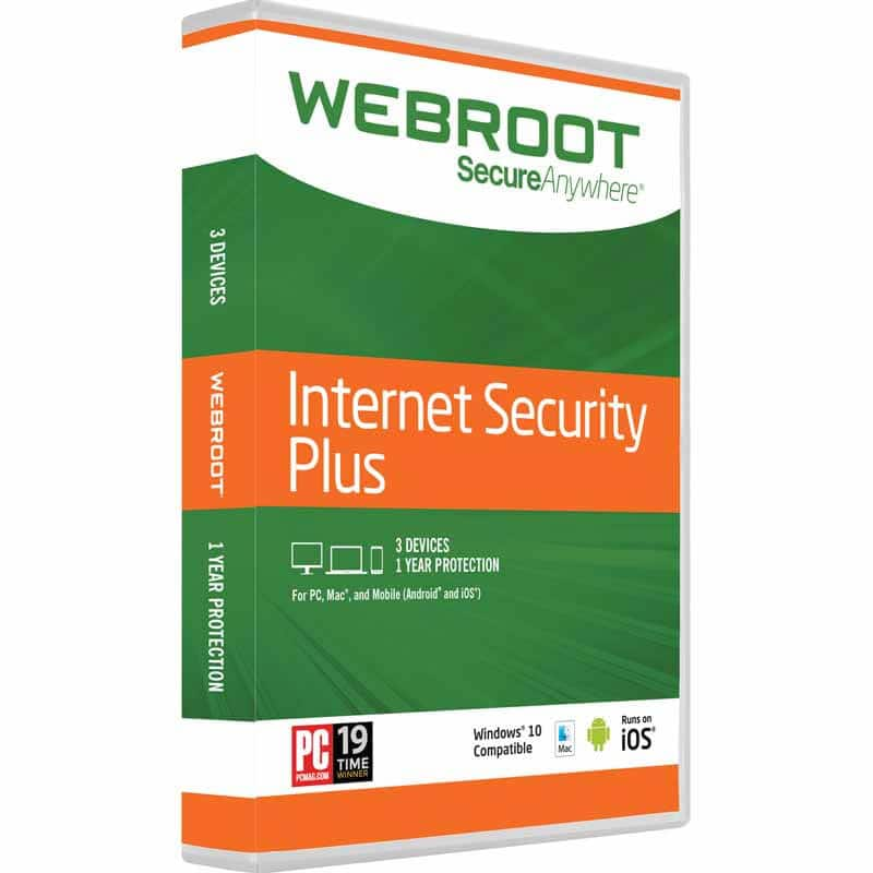 Webroot Internet Security Plus + Antivirus | 2017 | 3 Devices | 1 Year Subscription | PC/Mac Disc - $9.99