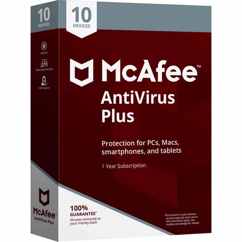 McAfee AntiVirus Plus 2018 - Unlimited Devices / 1 Year Coverage $9.99 after discounts & rebates