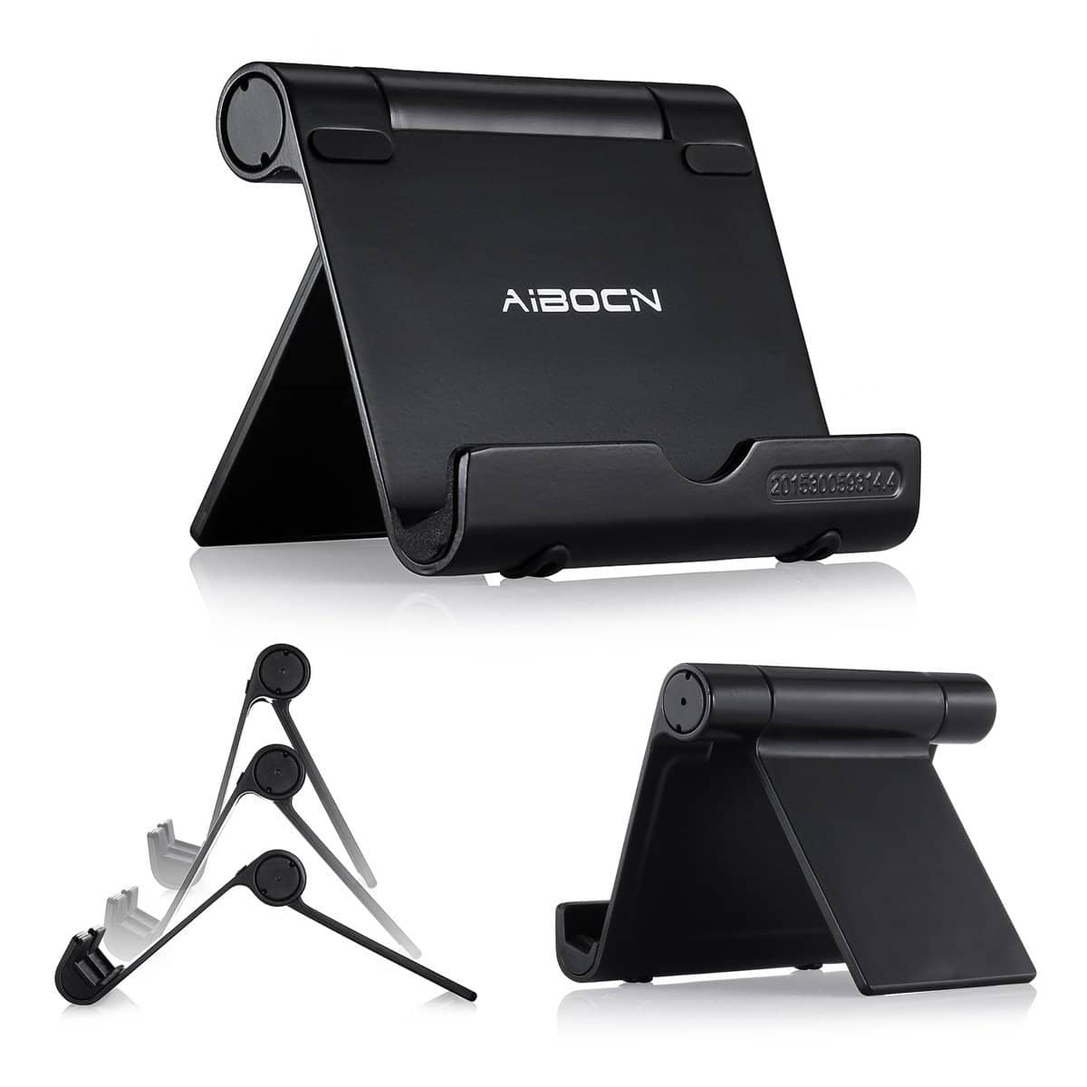 Aibocn Upgraded Multi-Angle Aluminum Stand for Tablets Smartphones and E-readers Compatible (Black) $6.59
