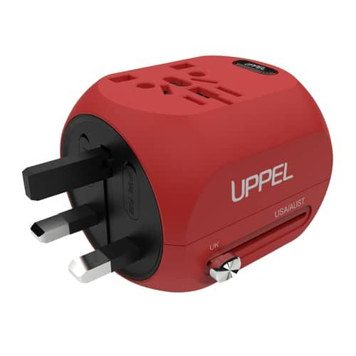 UPPEL International Universal Travel Charger Power Adapter (Red) for $16.49 @Amazon