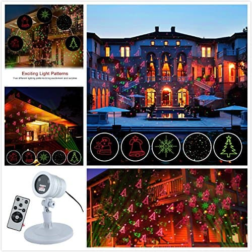 Wireless Remote 6 Patterns IP44 Waterproof Christmas Green & Red Projector Laser Lights (Silver) for $12.70 at Amazon