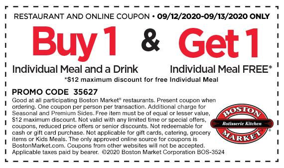 Boston Market BOGO Individual Meal 9/12 - 9/13
