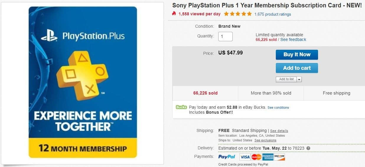 1 year Playstation Plus. Current Ebay members may get 6% ebay bucks till 5/17/18.