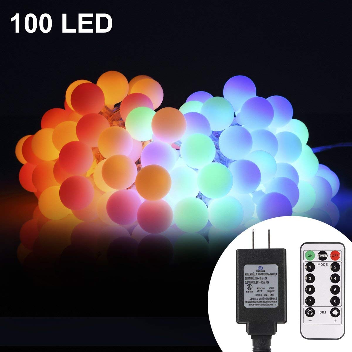 33ft 100 LED Globe String Lights with Remote & Timer (Multi Color) $13.98 @ Amazon