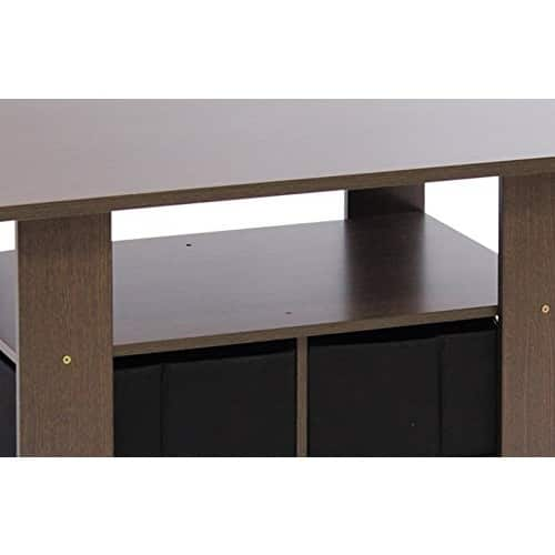 Furinno 11158DBR/BK Coffee Table with Bins, Dark Brown/Black $17.12