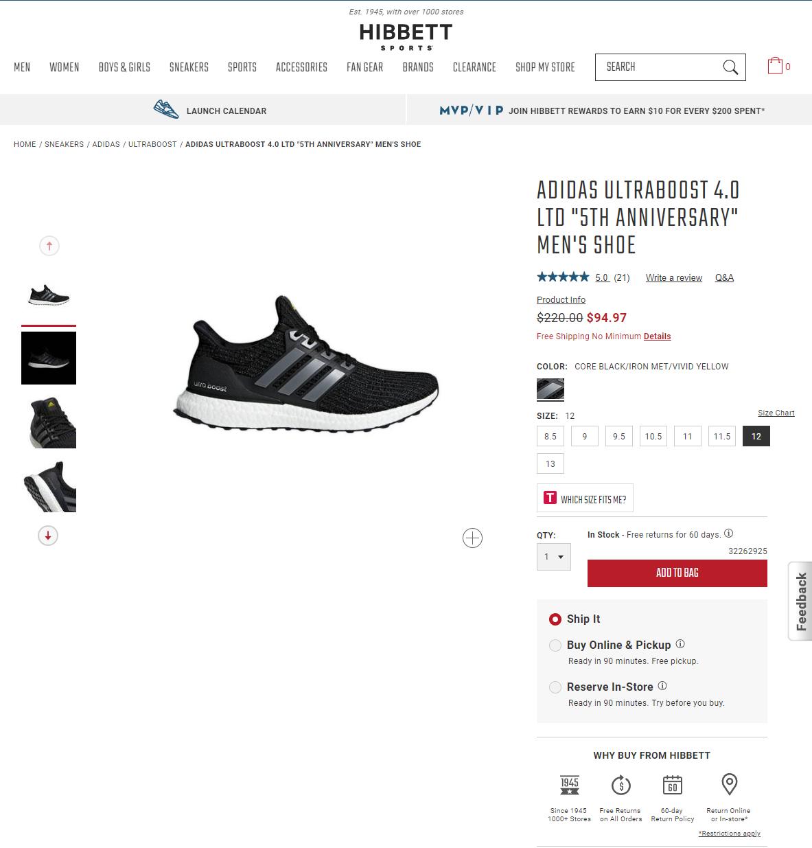 huge discount 4363c 842e3 adidas Mens UltraBOOST 4.0 Running Shoes (5th ann) - Core Black (94.97) -  Slickdeals.net