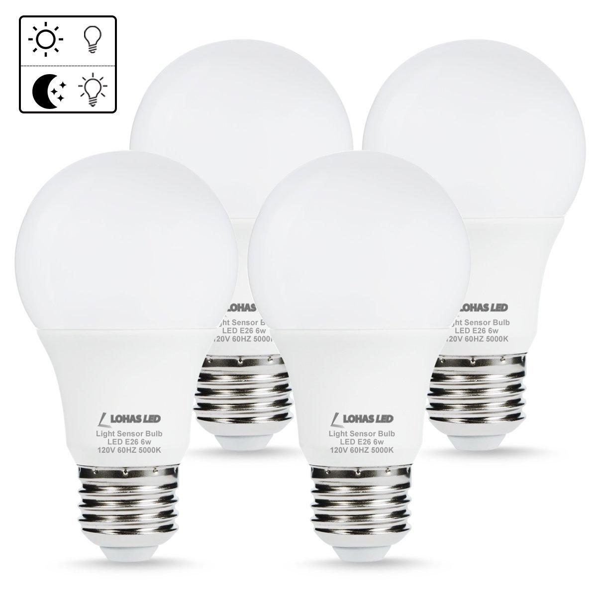 LOHAS 4-Pack A19 6W Daylight 5000K E26 LED Sensor Bulb (Auto on/off) $17.99 at Amazon