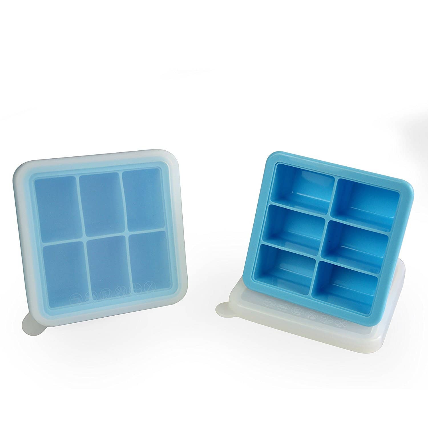 6 Cube Premium Silicone Ice Cube Tray with Lid, Blue, 2 Set for $9 @Amazon