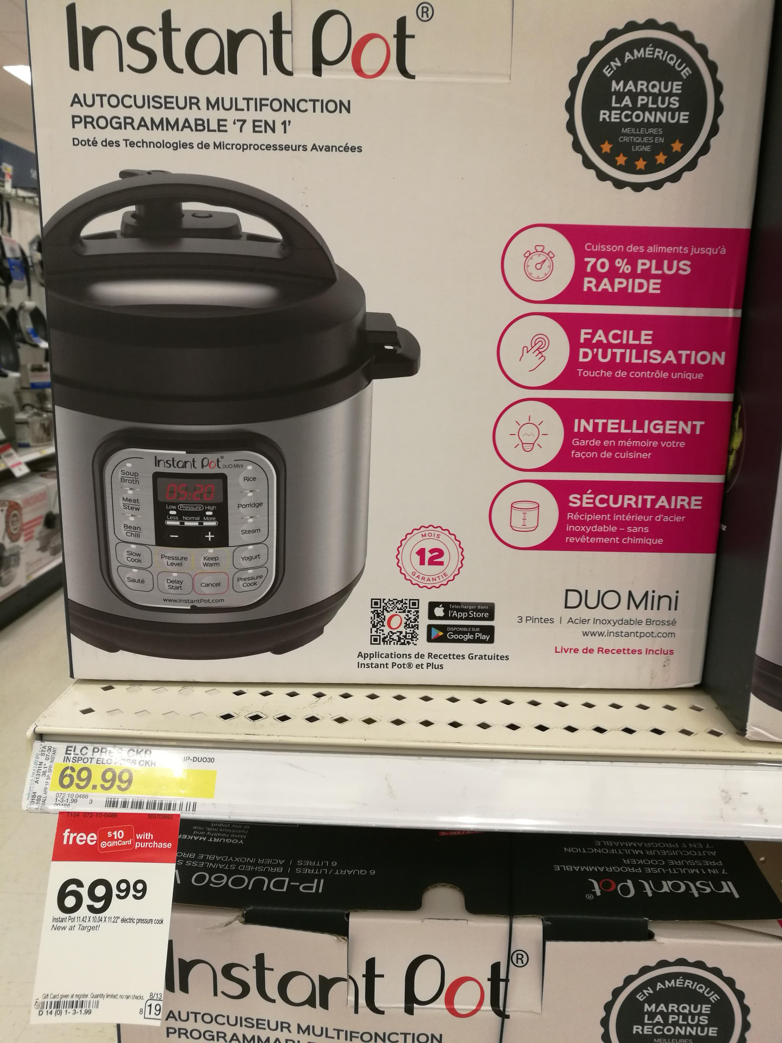 Instant Pot Duo Mini $69.99 +$10 GC @ Target B&M YMMV
