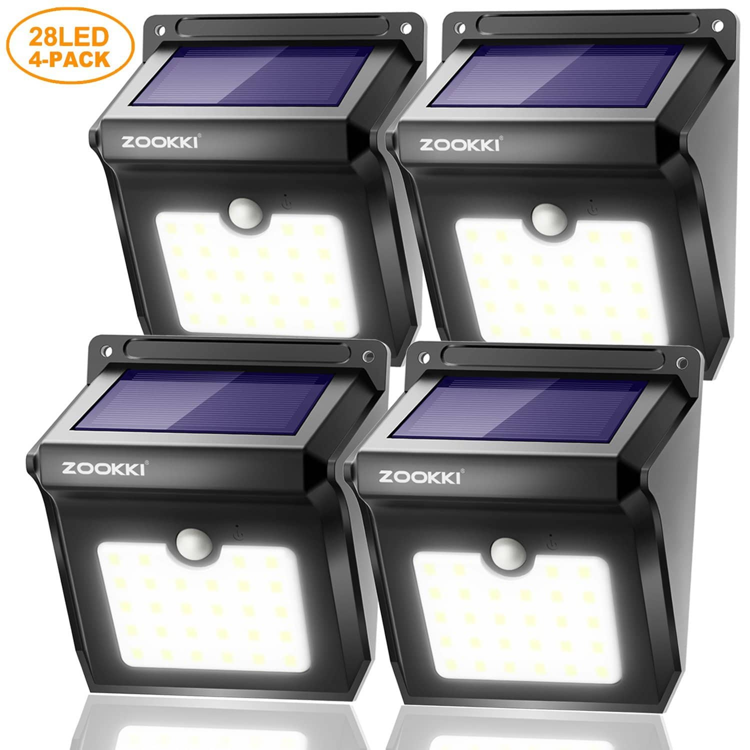 4 Pack Solar Motion Sensor 28 LEDs Waterproof Solar Lights for Outdoor $16.19 at Amazon